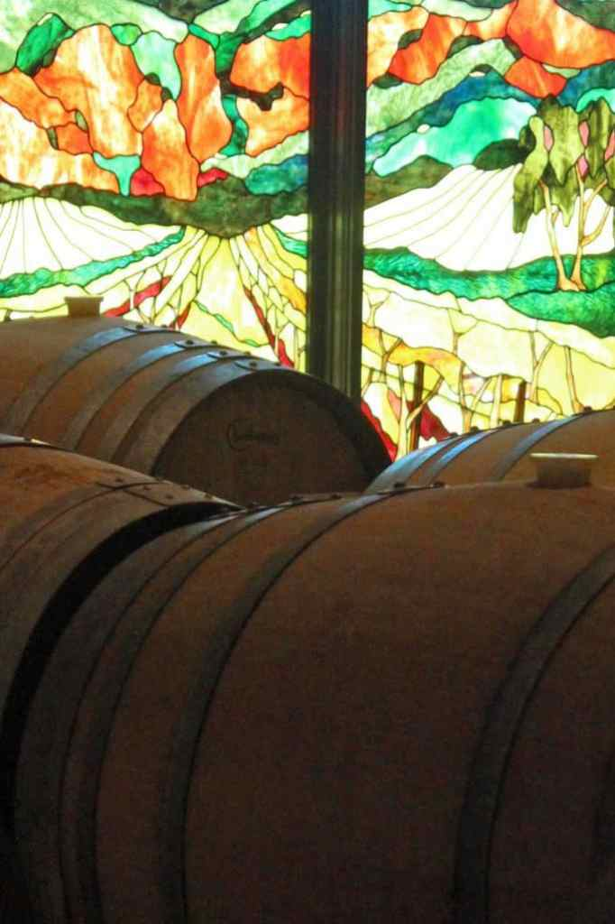 stained glass and wine barrels