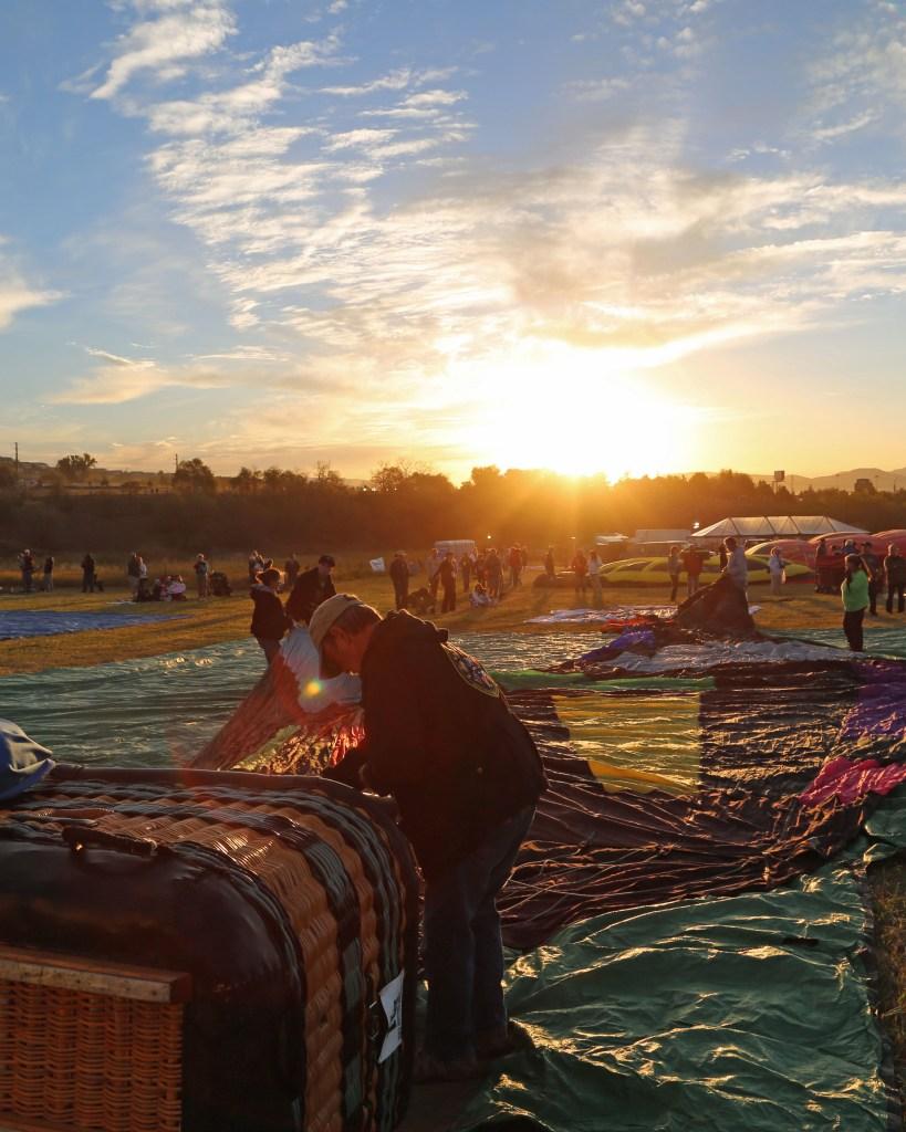Setting up at sunrise Reno Hot Air Baloon Race