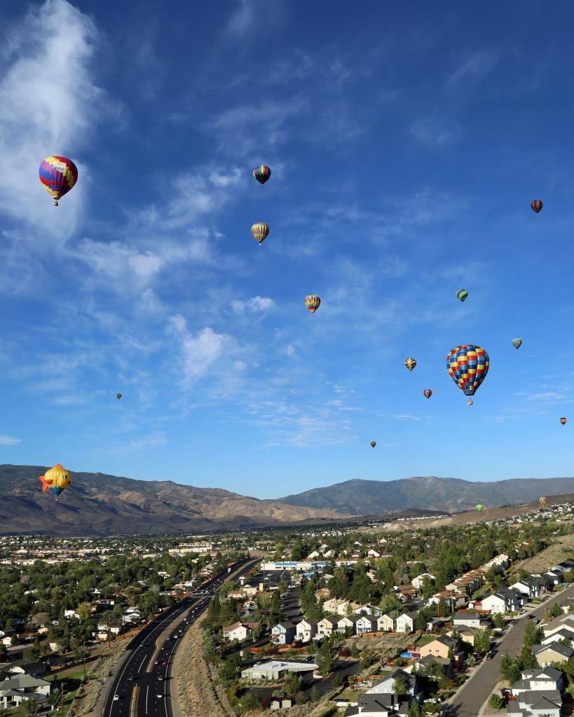 looking over Reno Hot Air Baloon Race in a baloon