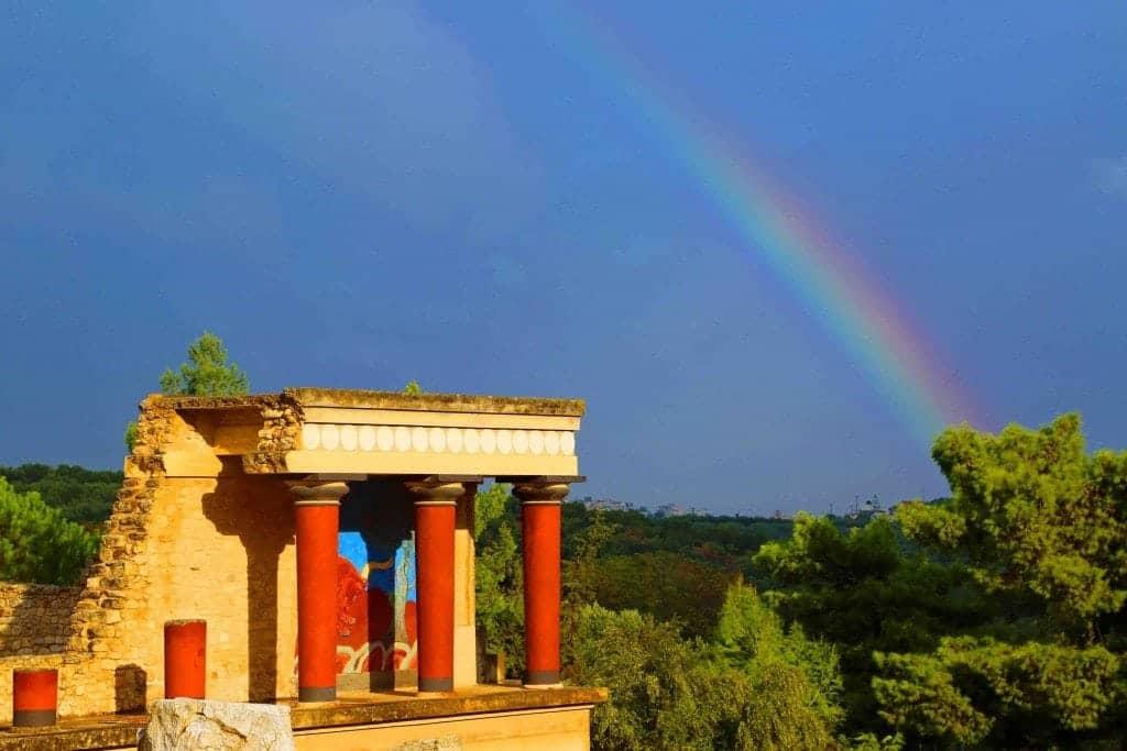 Blog Beautiful Rainbow over Minoan Ruins Crete Greece