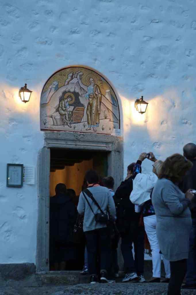 Blog entering church in Patmos Greece