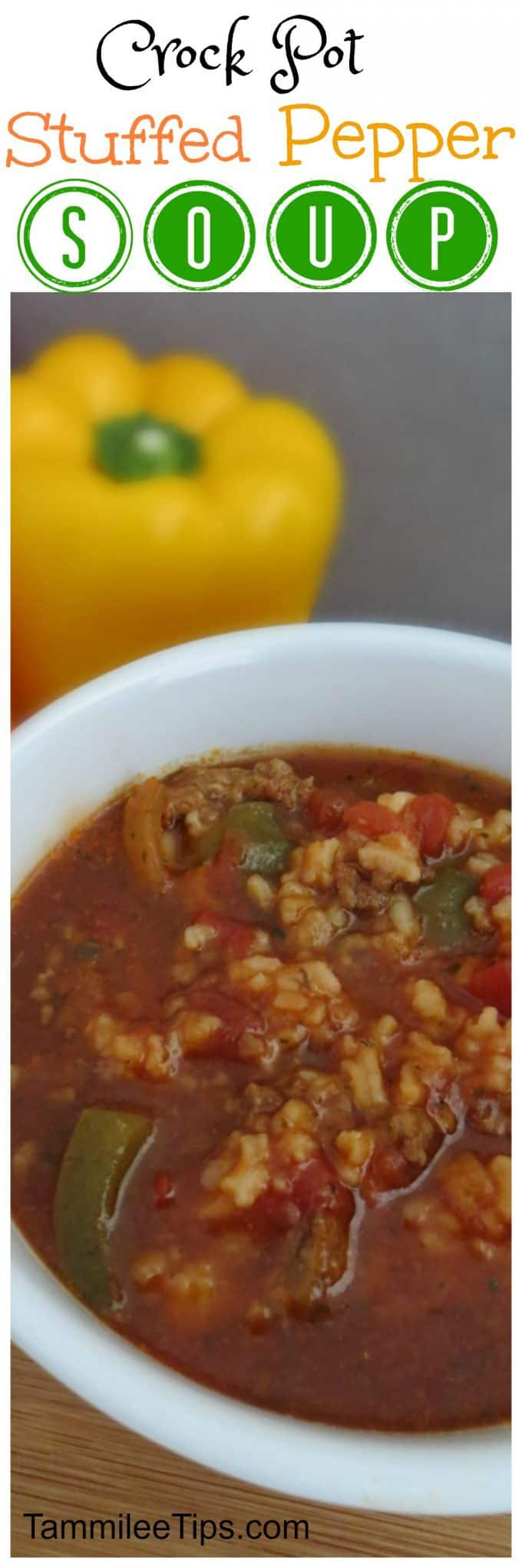 Crockpot Stuffed Pepper Soup Recipe! So easy to make the slow cooker does all the work for you. One of the best crock pot soup recipes for a cold evening! Everyone will love it!