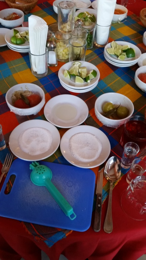 Table ready to mke Salsa and Margaritas in Cozumel Mexico