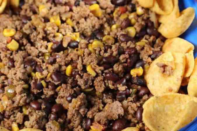 Crock Pot Mexican Chili over Fritos