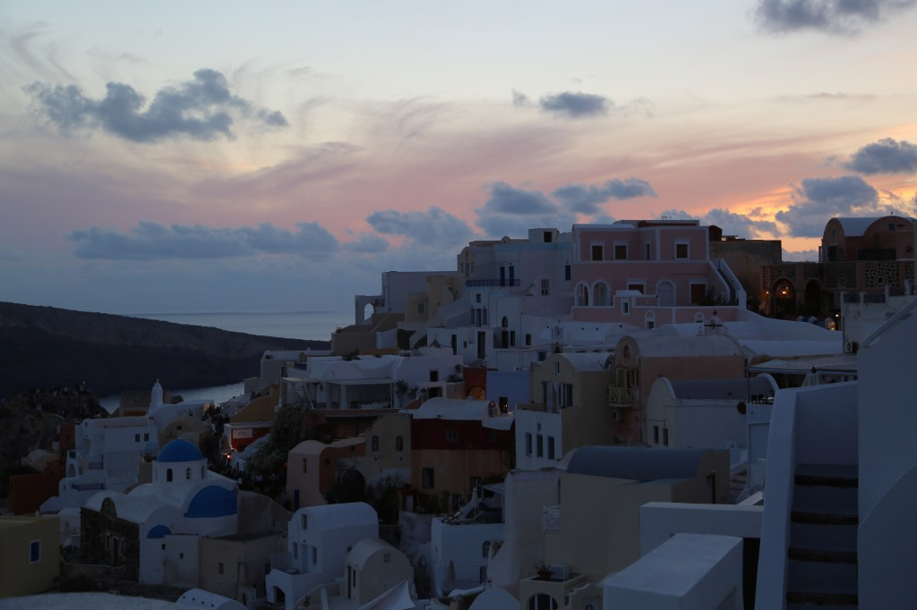 stuning sunset over Santorini Greece