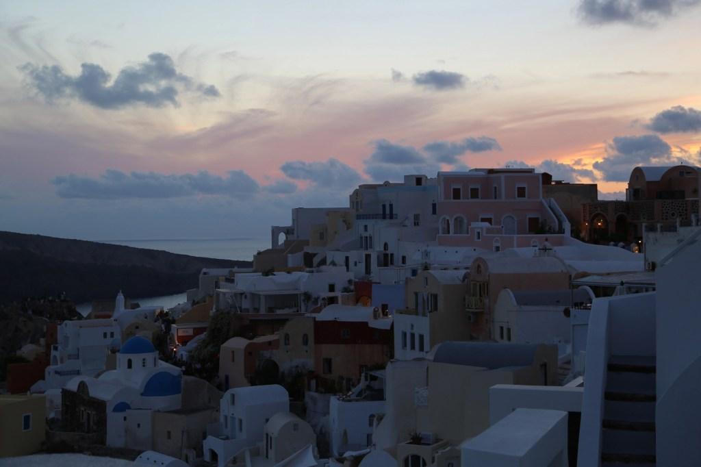 stuning sunset over Santorini Greece