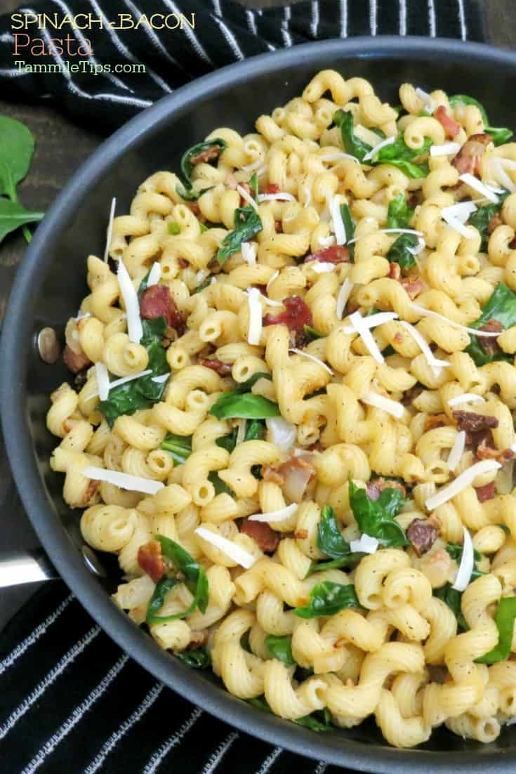 Easy wilted Spinach Bacon Pasta Recipe is an easy family dinner recipe! Great for a comfort food dinner for the whole family. Tastes great served hot or cold.   #bacon #spinach #pasta #recipe #easyrecipe #pastadinner #familydinner #entree #comfortfood