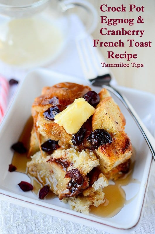 Eggnog and Cranberry Crock Pot French Toast Recipe! The perfect slow cooker recipe for the weekend or any day. Let the crock pot do the work and you get to relax!