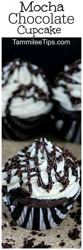 Easy Delicious Mocha Chocolate Cupcake Recipe you will love! Made from scratch but so easy to make, plus the frosting is amazing! Perfect for work parties, birthday parties, and more!