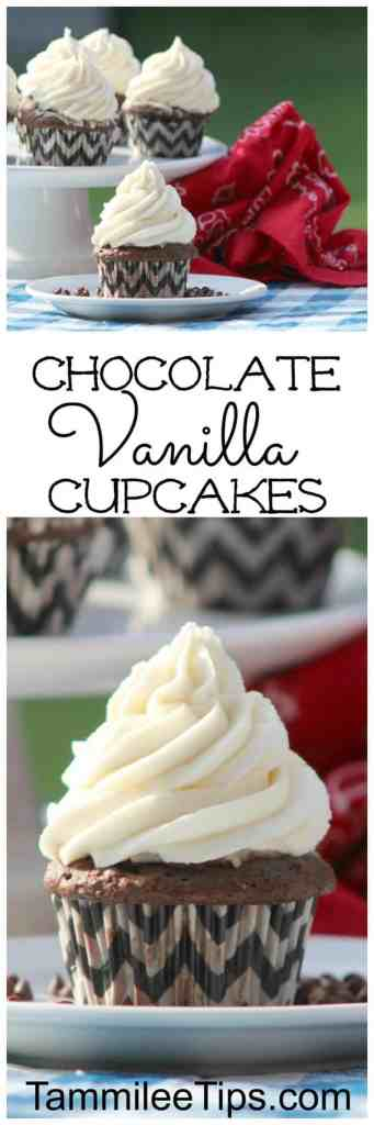 Easy Moist Chocolate Vanilla Homemade from Scratch Cupcake Recipe! Everyone will love these delicious cupcakes perfect for birthday parties, bridal showers, baby showers, engagement parties, holidays and more. Baking these is always a good idea