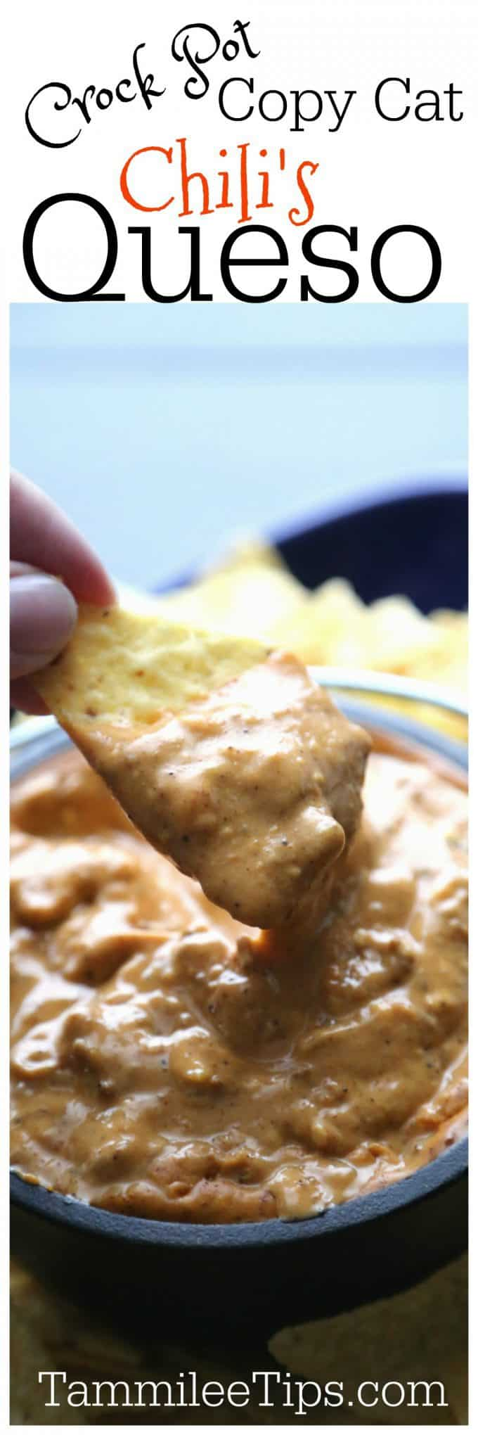 Easy Best Crockpot Copy Cat Chilis Queso Cheese Dip Recipe perfect for Super Bowl Football Parties or any day of the week! So easy to make the slow cooker Crock Pot does all the work! Beef, lots of Velveeta cheese and a bit of spice make this a great appetizer recipe.