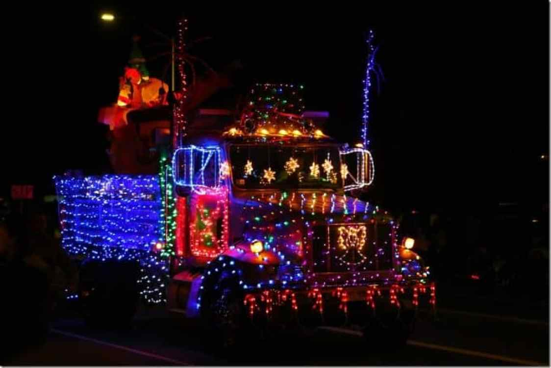 Decorated dump truck in Waimea Hawaii Christmas Parade