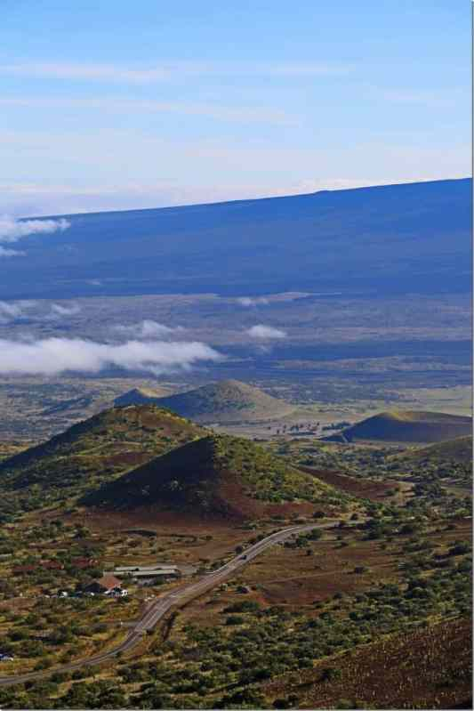 looking down to visitor center at 9000 feet elevation on Mauna Kea Big Island of Hawaii