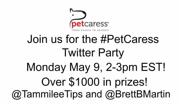Join us for the Pet Caress Twitter Party on May 9th at 2pm est!