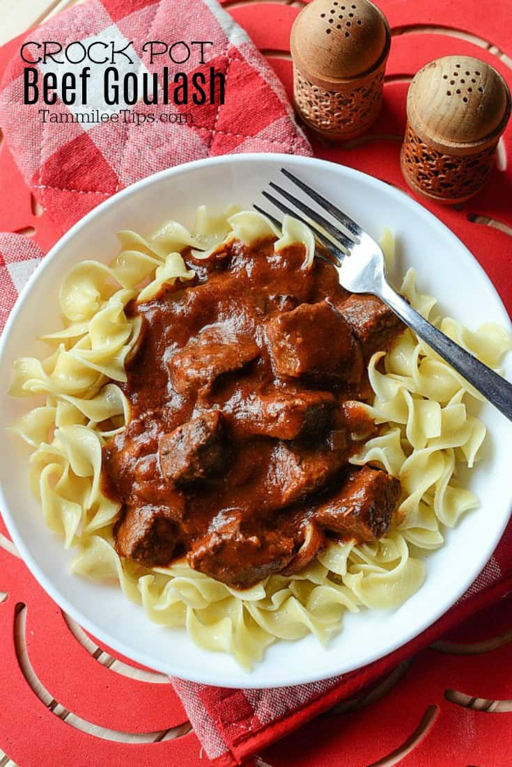 Easy Crock Pot Beef Goulash is the perfect comfort food recipe! So easy to make with the slow cooker! Thick and hearty this recipe is a family favorite! Served with egg noodles and perfect for leftovers. You could also serve this with rice or your favorite pasta or potatoes! Our take on the famous Hungarian Goulash we all know and love. #crockpot #slowcooker #goulash #beef #easyrecipe #recipe #comfortfood