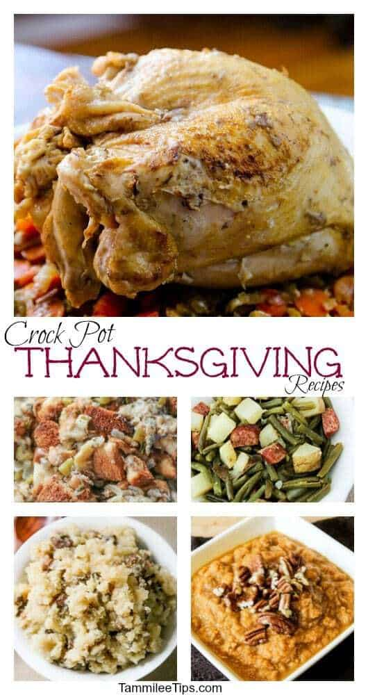 Save your oven space this year with these delicious Crock Pot Thanksgiving Recipes! Make your turkey, ham, stuffing, mashed potatoes, sweet potatoes, dessert, green beans, side dishes and more in the slow cooker!