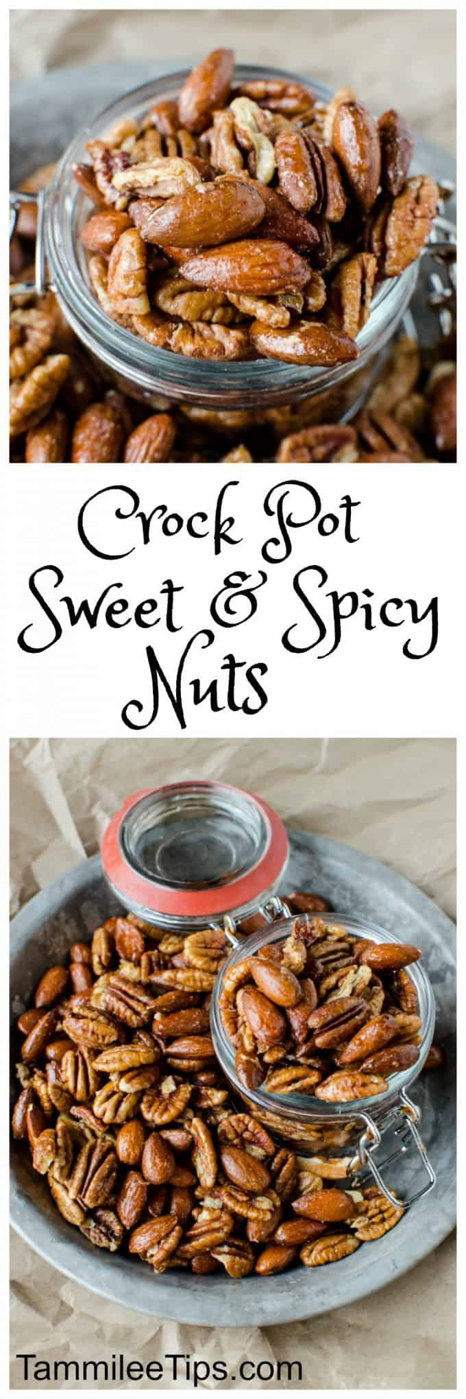 Crock Pot Sweet and Spicy Nuts Recipe perfect for Christmas! Super easy recipe that is great for DIY Holiday gifts. The crockpot/slow cooker does all the work and you have a great gift or snack! #crockpot #slowcooker #holidays #DIY #Gifts #christmas