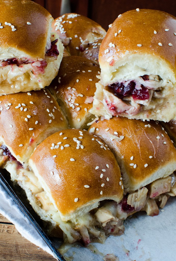 Super easy Cranberry Turkey Sliders Recipe! A great way to use holiday leftover turkey and cranberry!