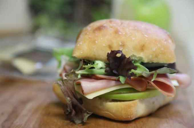 Ham and Swiss Ciabatta Sandwich with Garlic Aioli Recipe