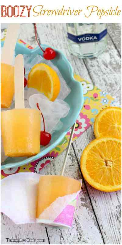 How to make a Easy frozen Boozy Screwdriver Popsicle Recipe with vodka and orange juice perfect for a hot summer day! #Popsicle #recipe #cocktail