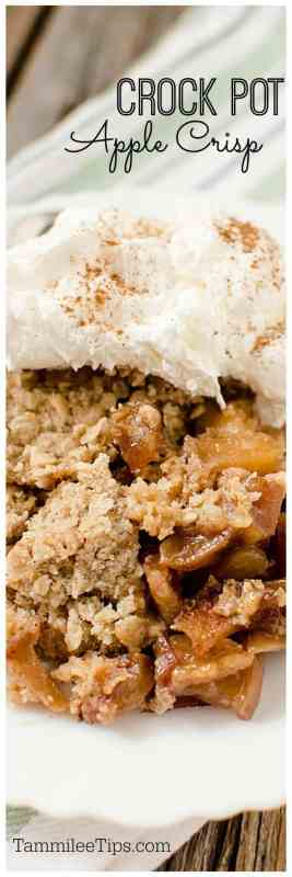 Easy crock pot slow cooker apple crisp with caramel that is perfect for family dessert! A great fall comfort food!