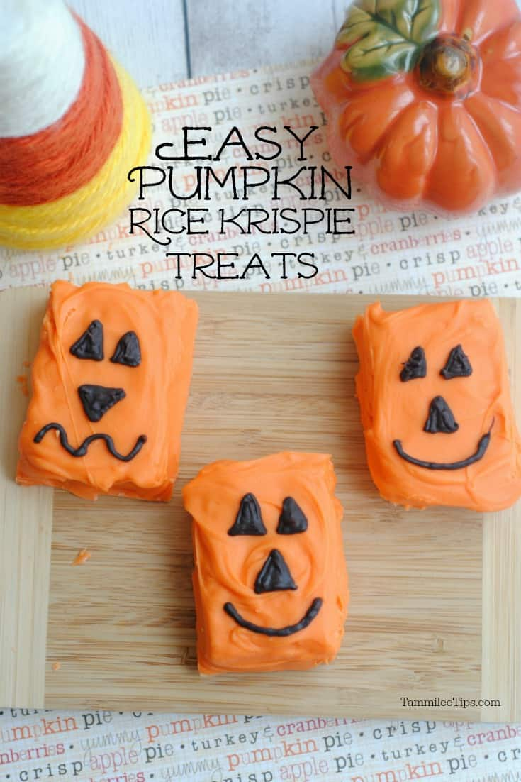 easy to make pumpkin rice krispie treats for halloween great for school parties holiday