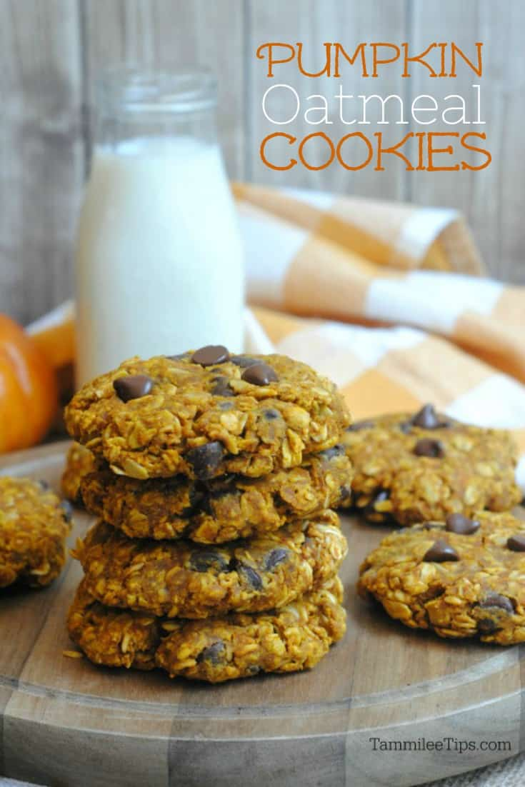 Easy Best Pumpkin Oatmeal Chocolate Chip Cookies Recipe! So soft and chewy it is hard to stop at just one! #pumpkin #cookie #recipe #chocolatechip