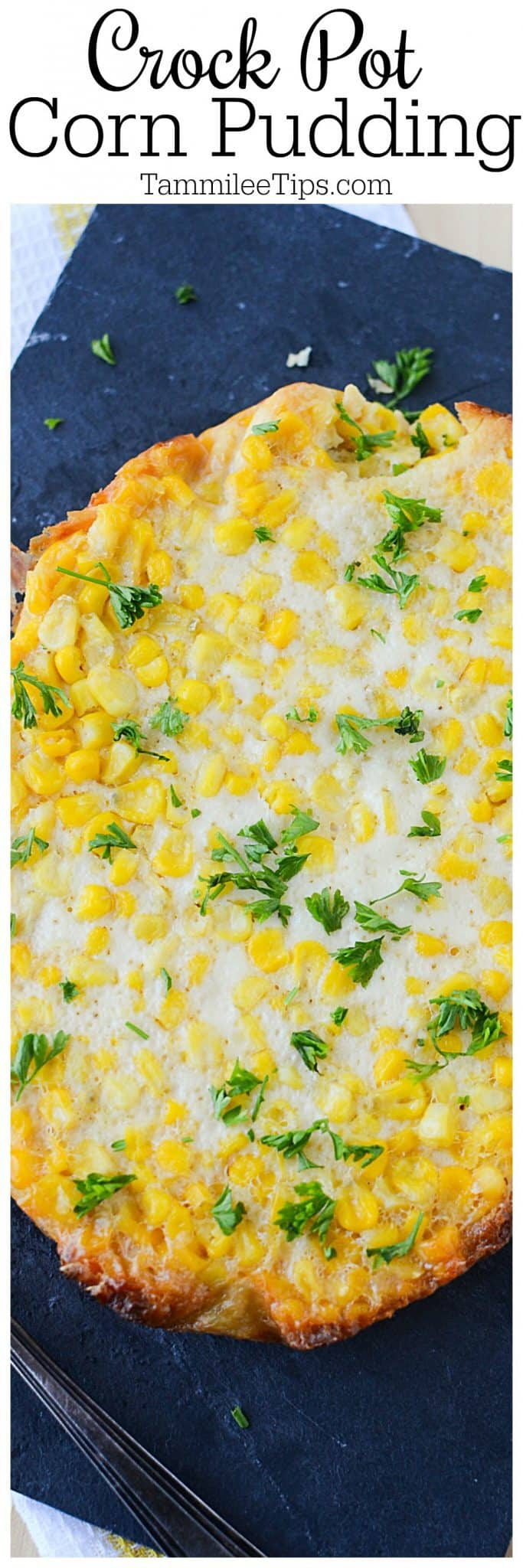 Slow Cooker Crock Pot Corn Pudding Recipe also called Corn Casserole is a great Thanksgiving or Christmas side dish. So easy to make and you don't have to stress over it. #CrockPot #slowcooker #thanksgiving #christmas