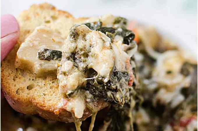 Slow Cooker Crock Pot Spinach Artichoke Dip with Sun-dried tomatoes