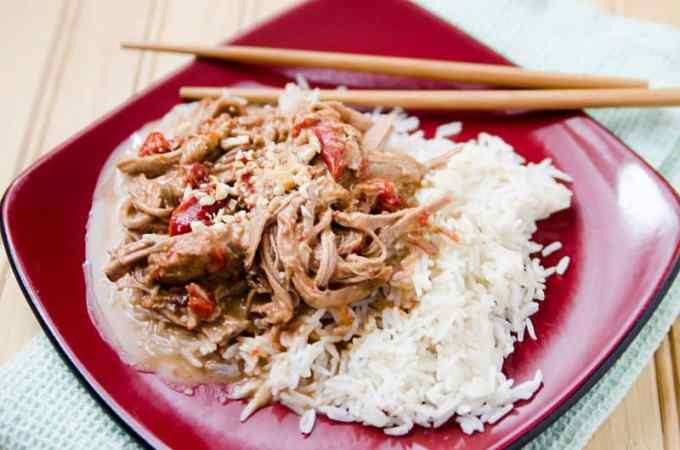 Slow Cooker Crock Pot Thai Pork w. Peanut Sauce Recipe