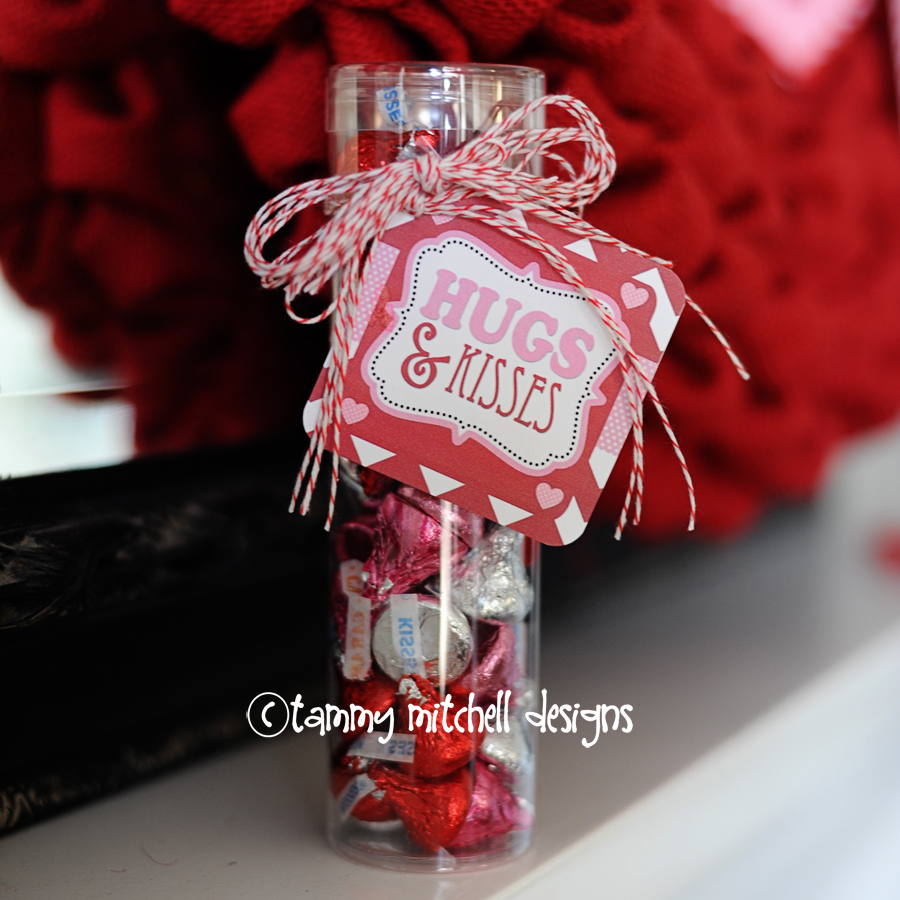 """Hugs & Kisses"" Free Valentine Printable Tag by Tammy Mitchell"