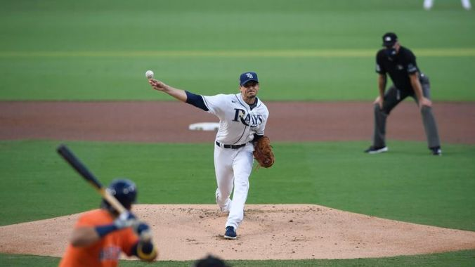 Tampa Bay Rays starting pitcher Charlie Morton (50) delivers during the first inning of the American League Championship Series game seven against the Houston Astros Saturday, Oct. 17, 2020 at Petco Park in San Diego.