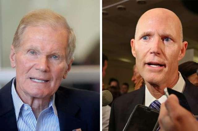 Bill Nelson, left, and Rick Scott, right.