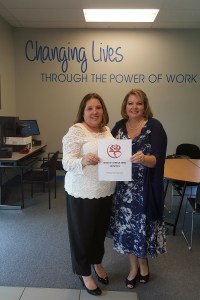 Jennifer Bailes (left), CEO of Bailes Consulting Services, with Veronica Brandon Miller, vice president of Goodwill Manasota, at Goodwill's Mecca location in north Sarasota