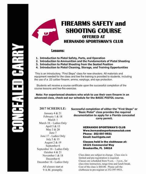 Firearms Safety Classes offered at Hernando Sportsman\'s Club ...