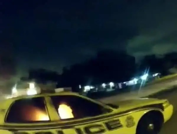 tampa police car on fire