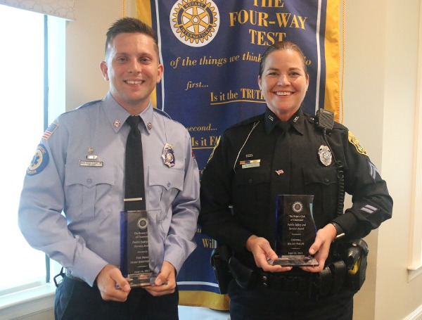 Clearwater Fire & Rescue Fire Medic Kenny Sweitzer Jr. and Cpl. Melody Phelps of the Clearwater Police Department