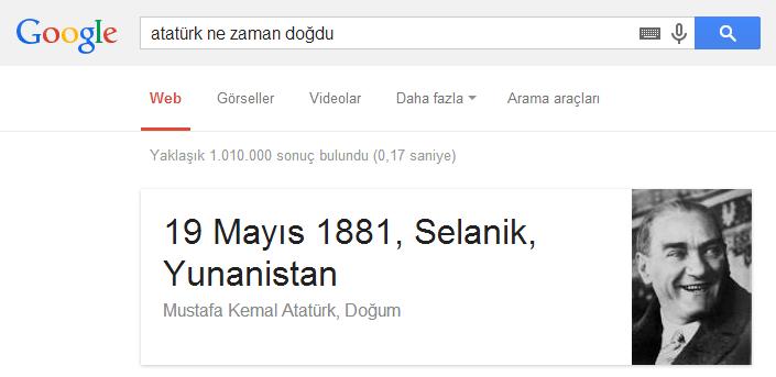 Atatürk ne zaman doğdu ? Arama sorgusu