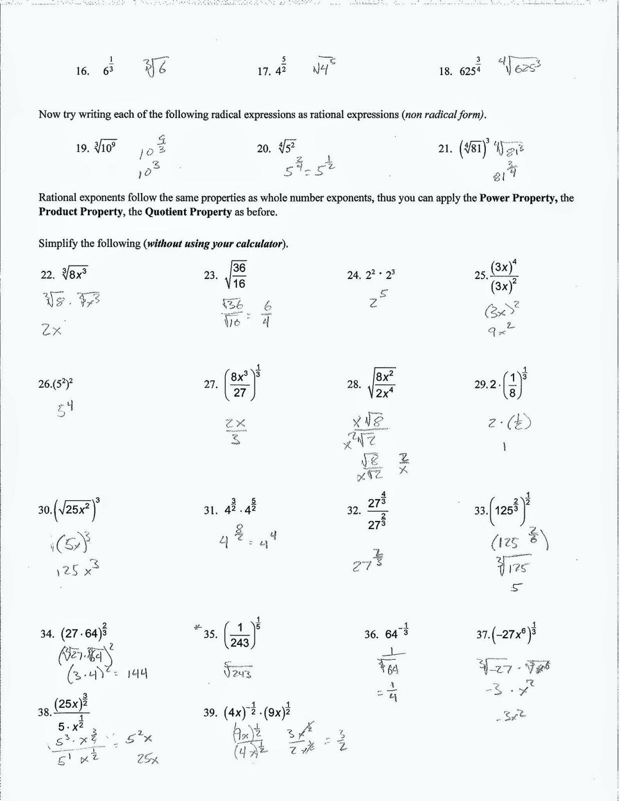 Algebra 2 Simplifying Radicals Imaginary Numbers Worksheet
