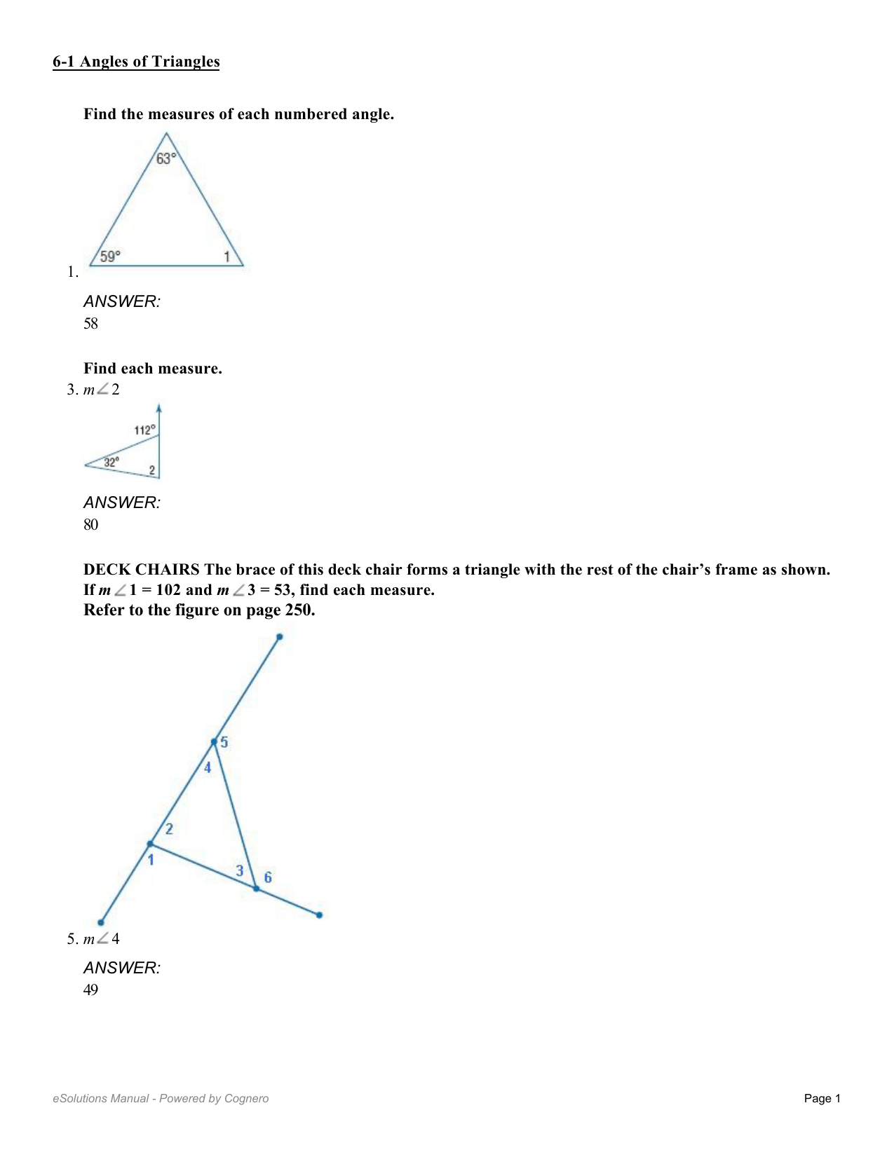 Find The Measure Of Each Numbered Angle Worksheet Answers