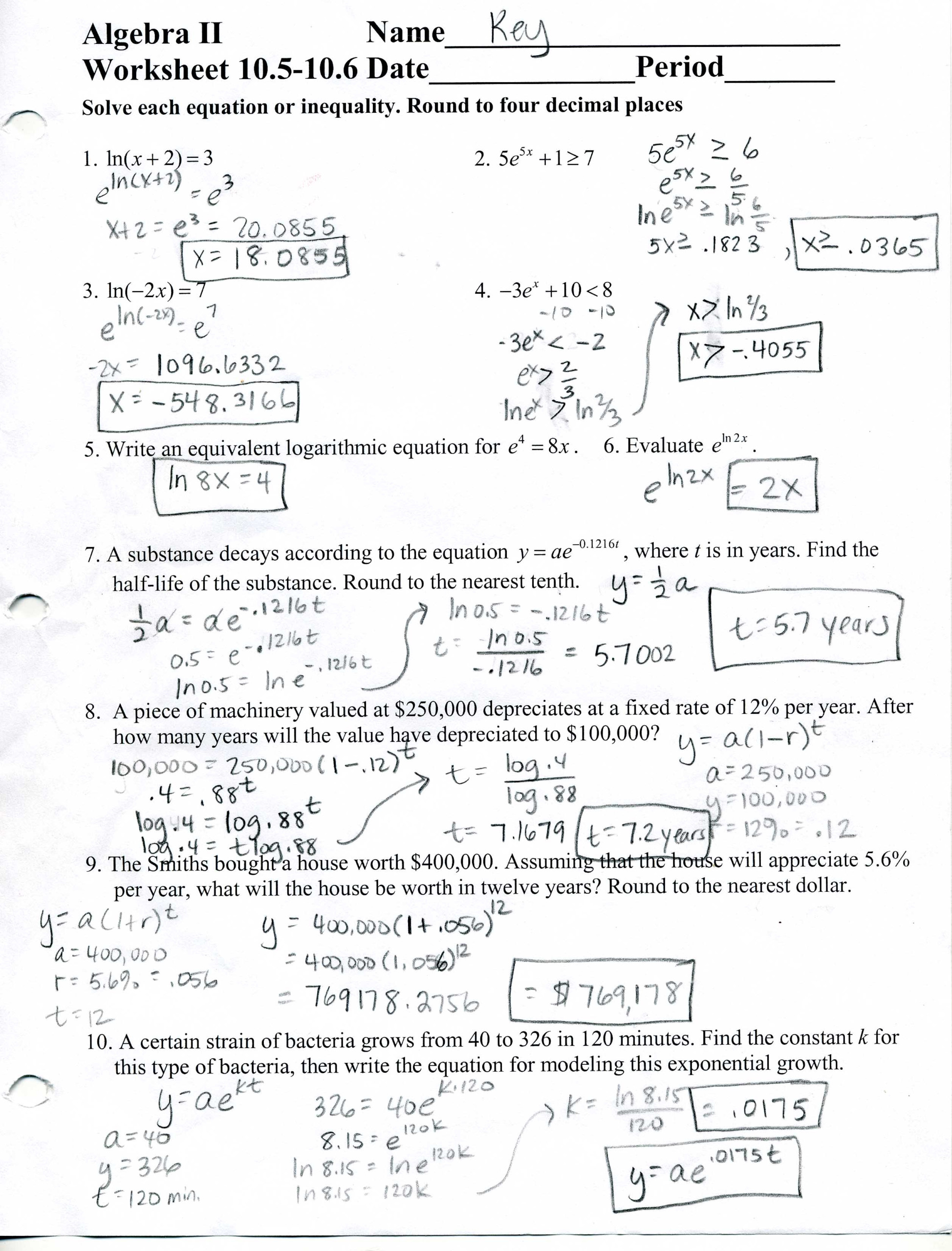 Algebra 2 Worksheet 8 2 Answers