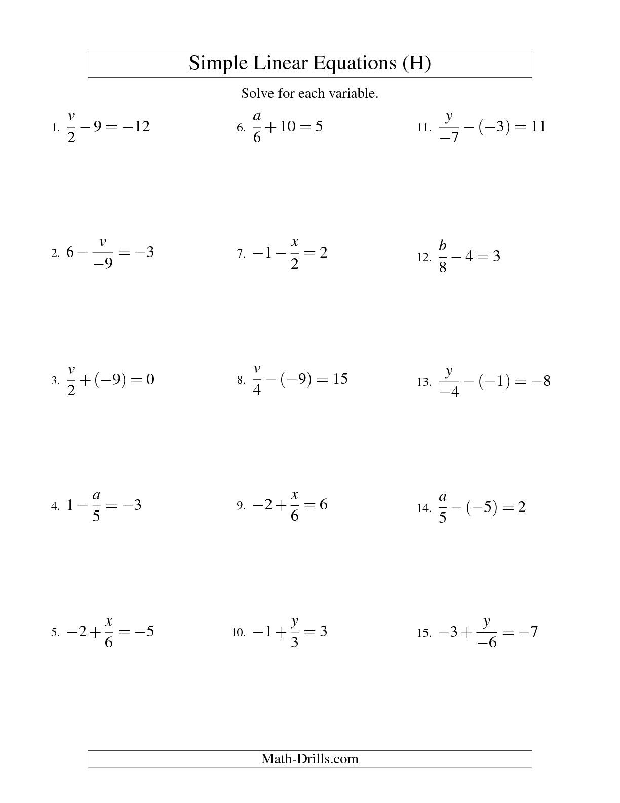 Two Step Equations With Fractions Worksheet