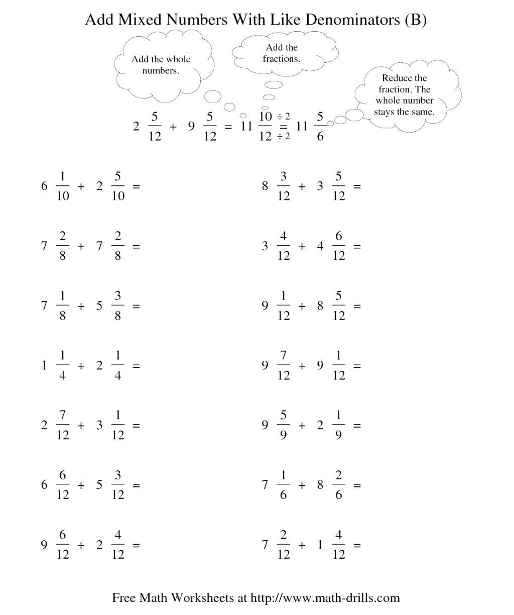 4th Grade Adding And Subtracting Fractions Worksheets