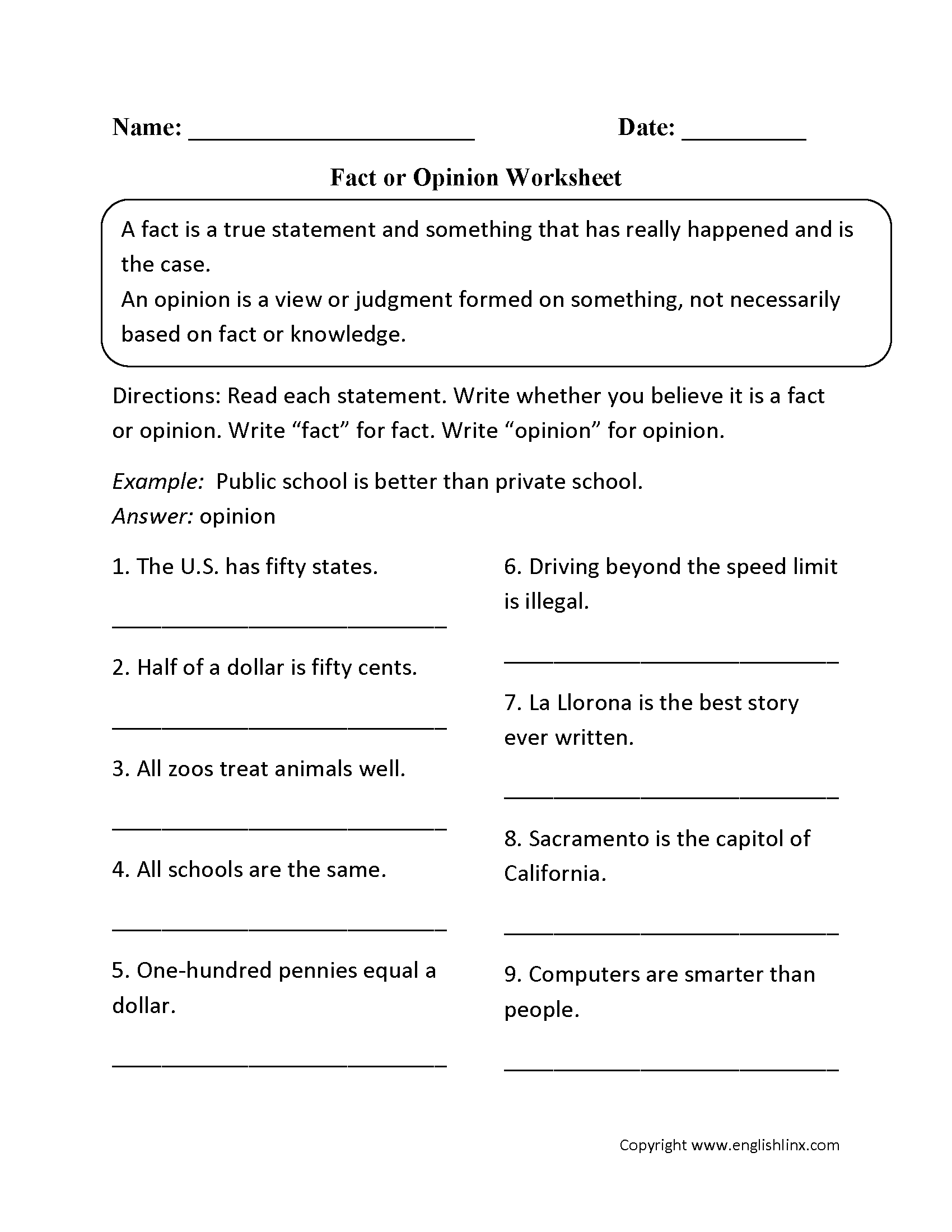 Fact And Opinion High School Worksheet