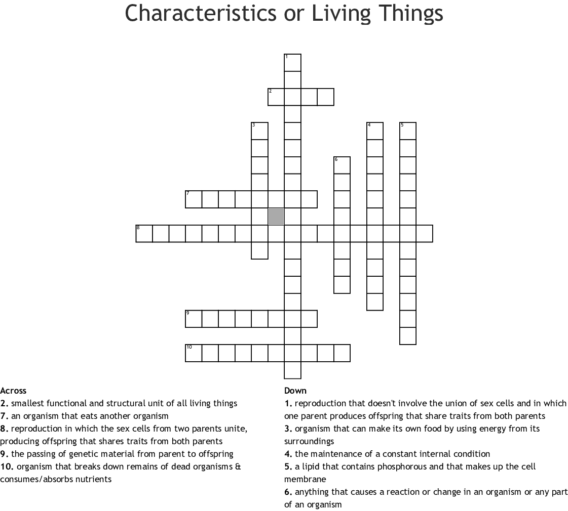 Characteristics Of Living Things Worksheet Middle School