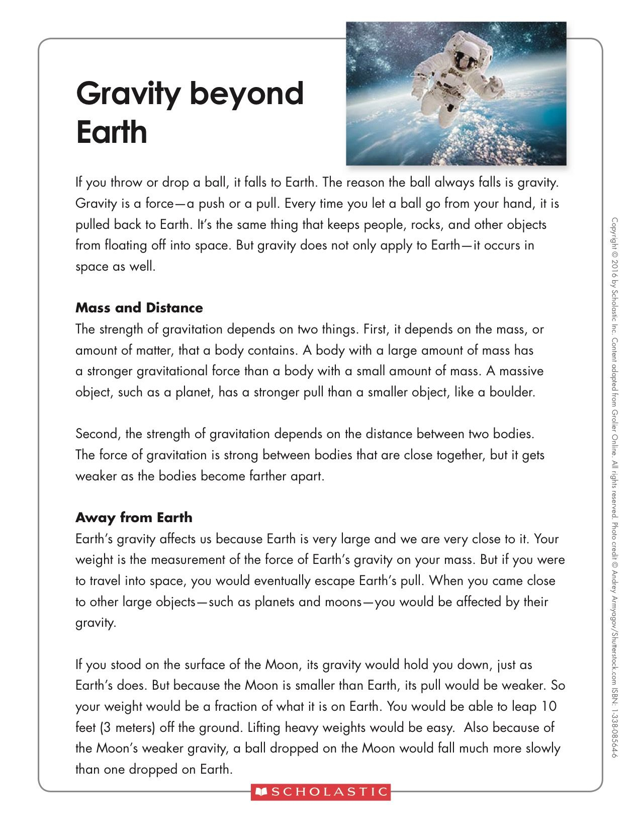 Gravity Worksheets For Middle School Students