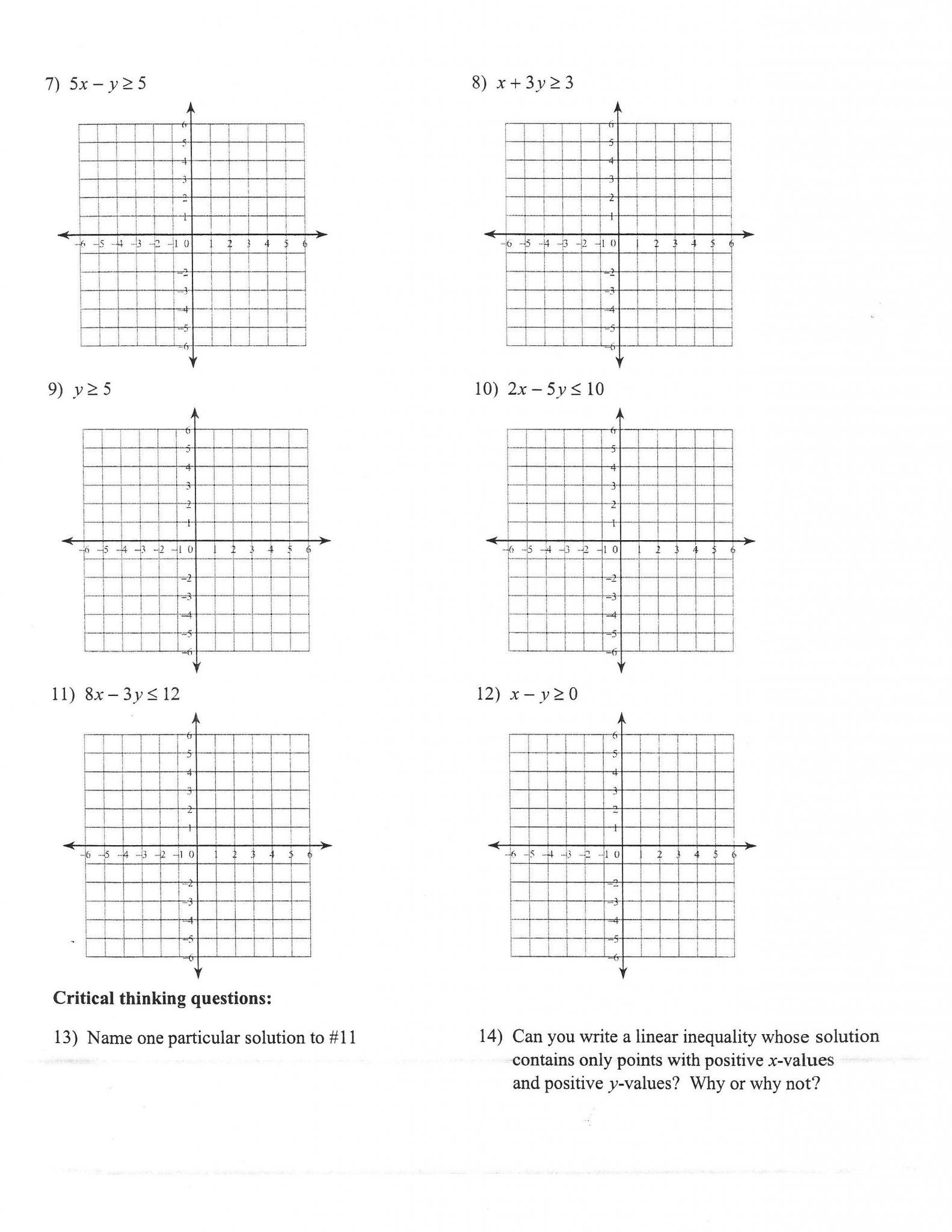 Algebra 1 Linear Equations Worksheet