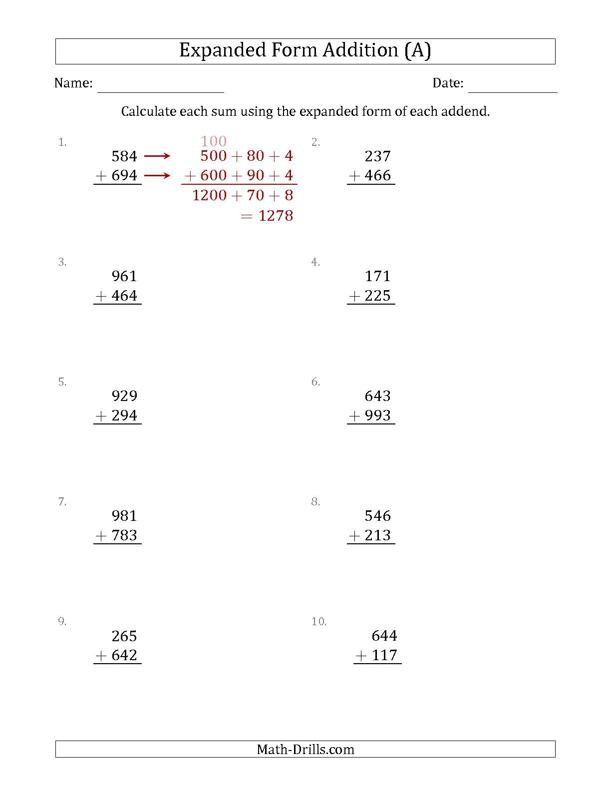 Multiplication Using Expanded Form Worksheets