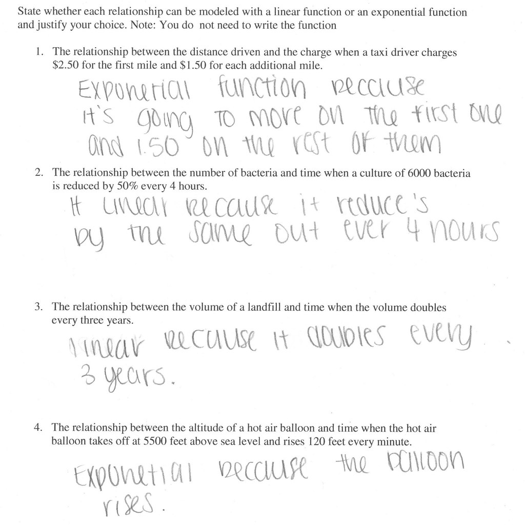 Exponential Growth And Decay Worksheet Algebra 2