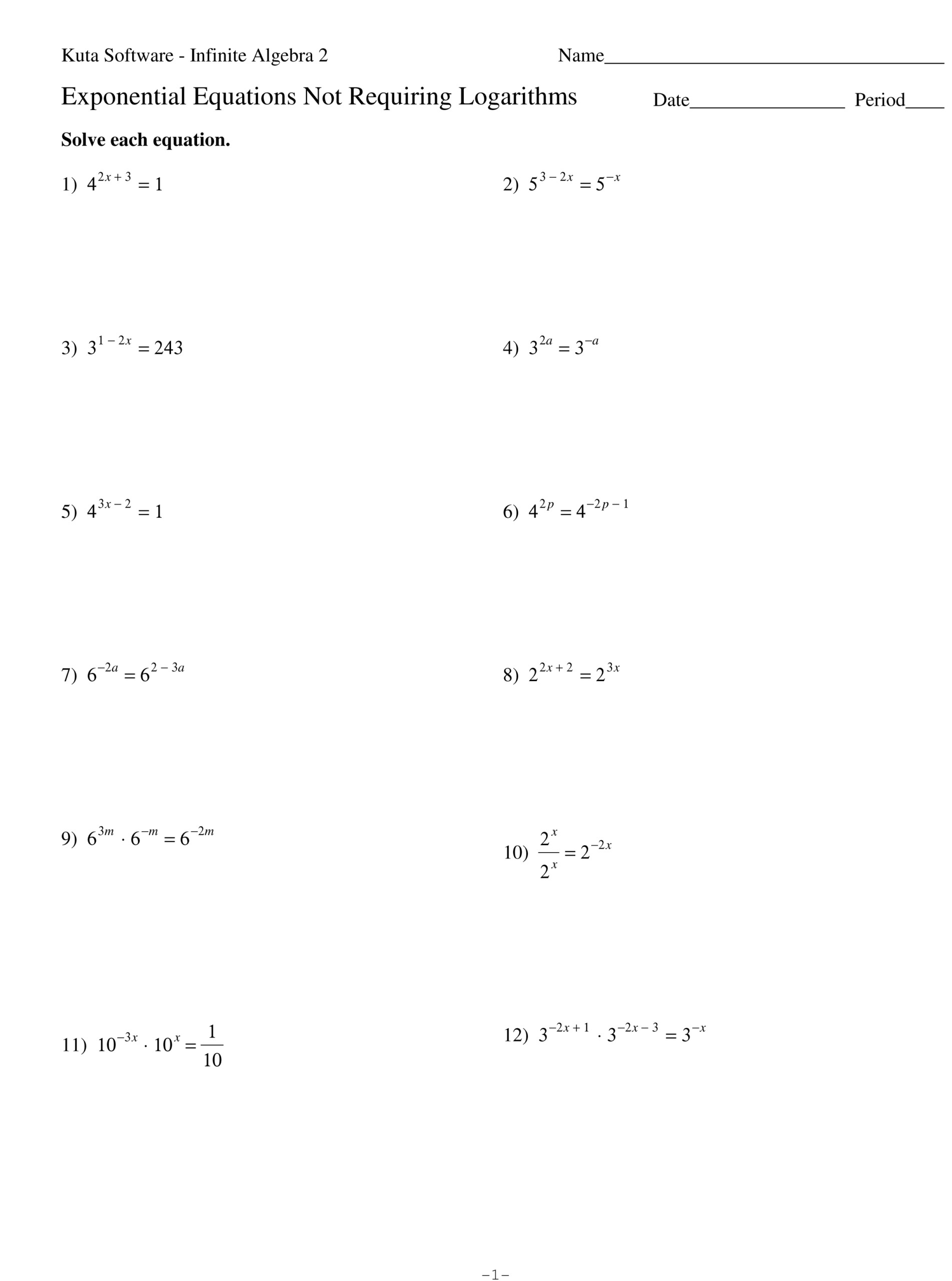 Algebra 2 Solving Exponential And Logarithmic Equations